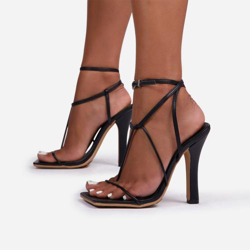 Glambition Strappy Square Toe Track Sole Heel In Black Faux Leather