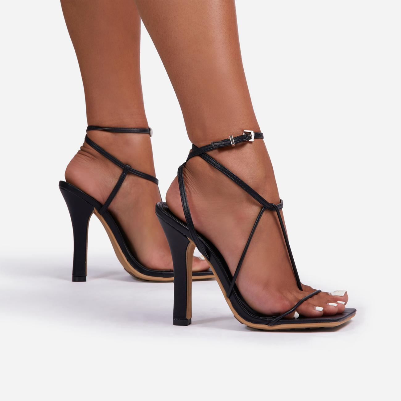 Glambition Strappy Square Toe Track Sole Heel In Black Faux Leather Image 2