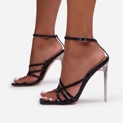 Rayon Strappy Square Toe Clear Perspex Heel In Black Faux Leather