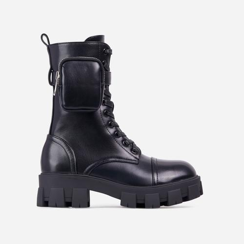 Squadron Pocket Detail Lace Up Chunky Sole Ankle Biker Boot In Black Faux Leather