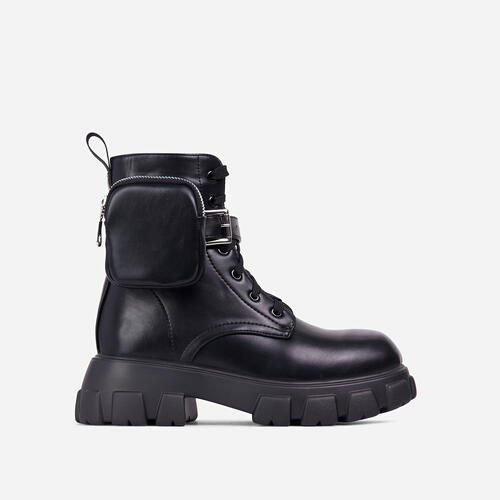 Contender Pocket Detail Lace Up Chunky Sole Ankle Biker Boot In Black Faux Leather
