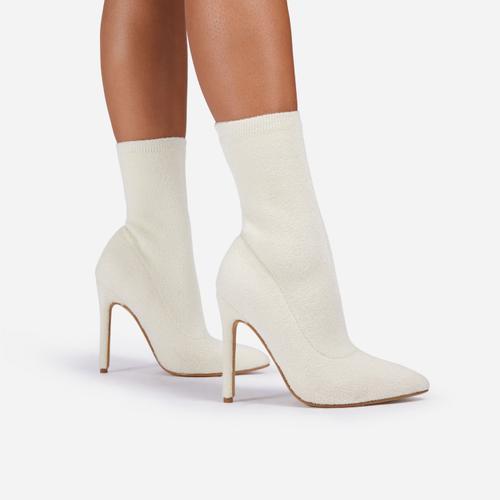 Wisdom Ankle Sock Boot In White Faux Shearling