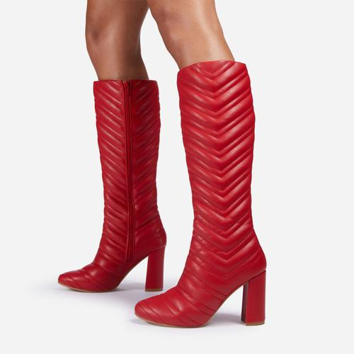 New-Goals Stitch Detail Block Heel Knee High Long Boot In Red Faux Leather
