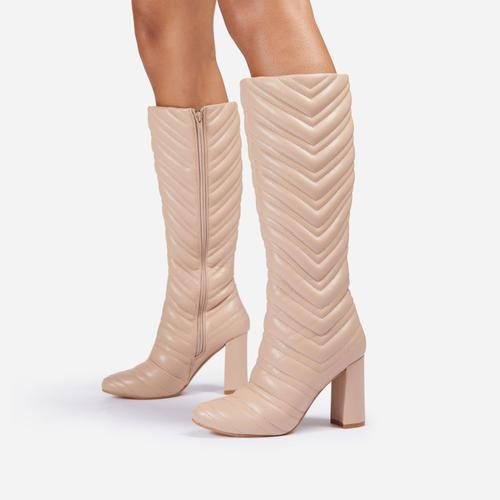 New-Goals Stitch Detail Block Heel Knee High Long Boot In Nude Faux Leather