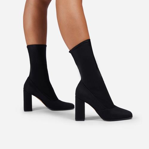 Collina Square Toe Block Heel Ankle Sock Boot In Black Lycra