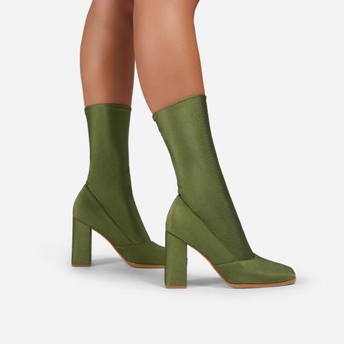 Collina Square Toe Block Heel Ankle Sock Boot In Green Lycra