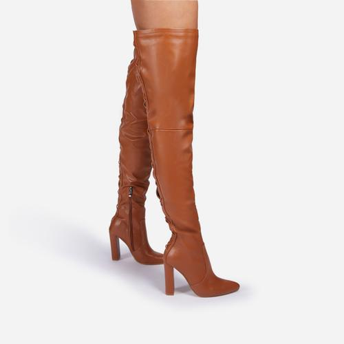 Invasion Block Heel Lace Up Over The Knee Thigh High Long Boot In Tan Brown Faux Leather