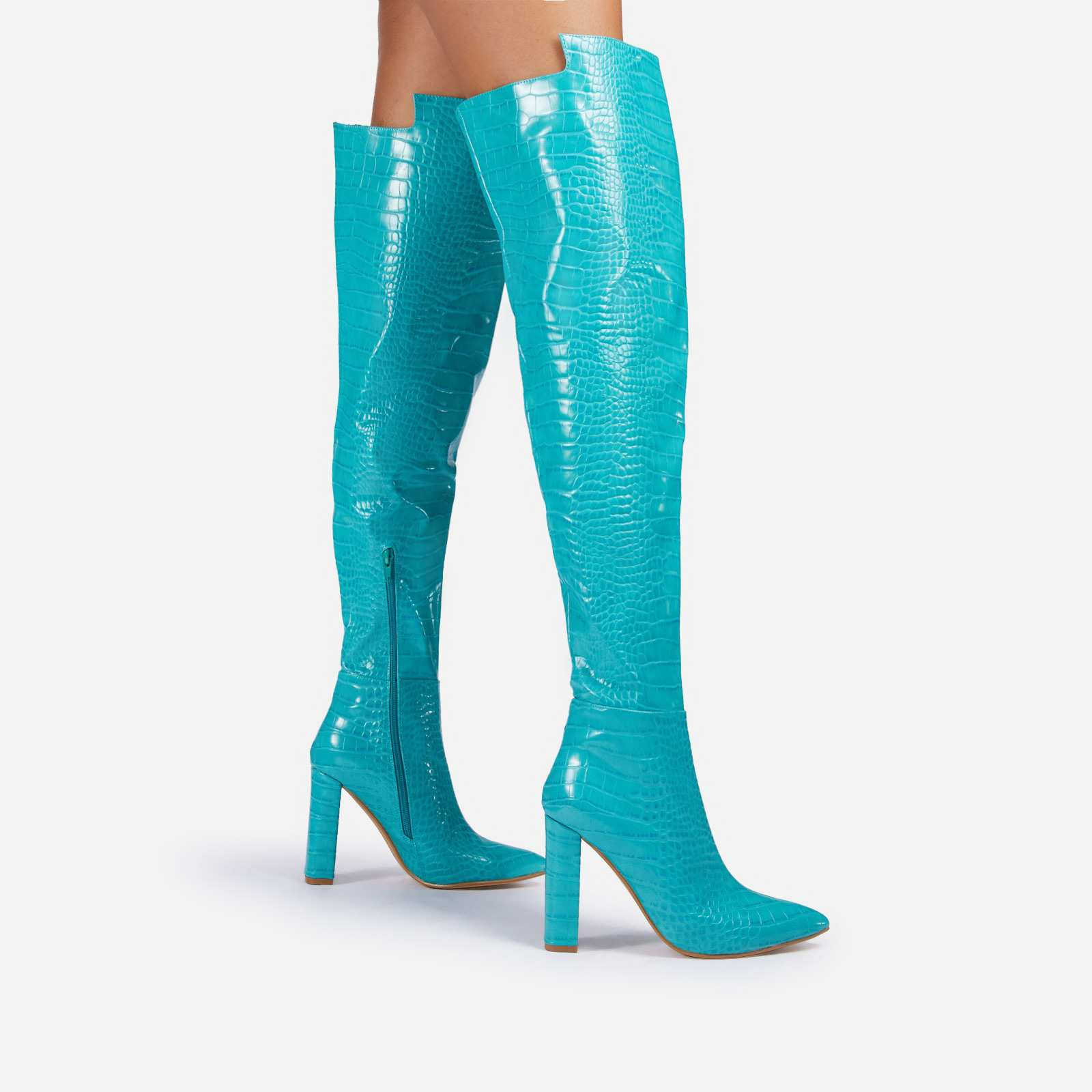 Visionary Block Heel Over The Knee Thigh High Long Boot In Turquoise Blue Croc Print Patent