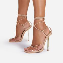 Raven Knotted Detail Lace Up Square Toe Metallic Heel In Nude Faux Leather