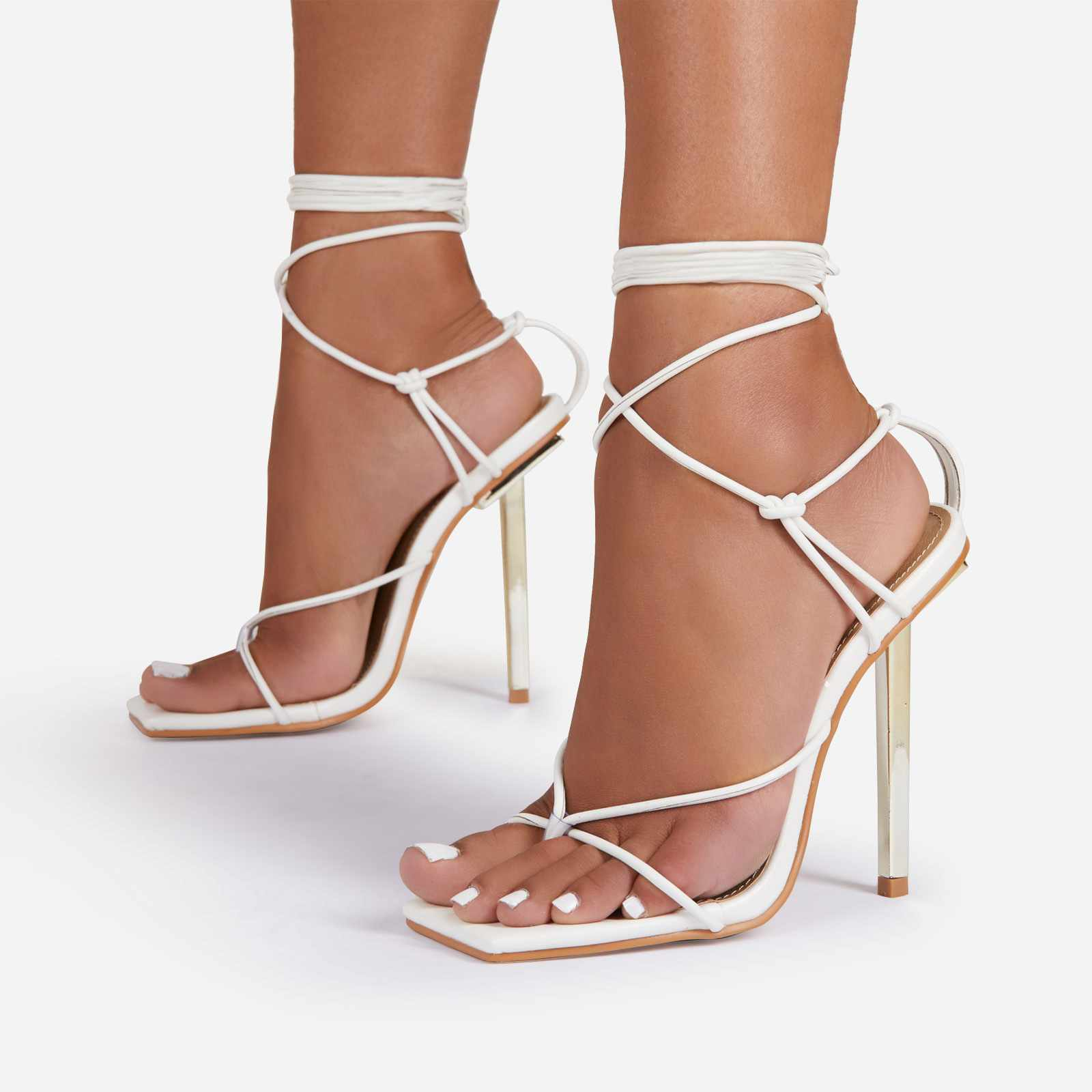 Raven Knotted Detail Lace Up Square Toe Metallic Heel In White Faux Leather