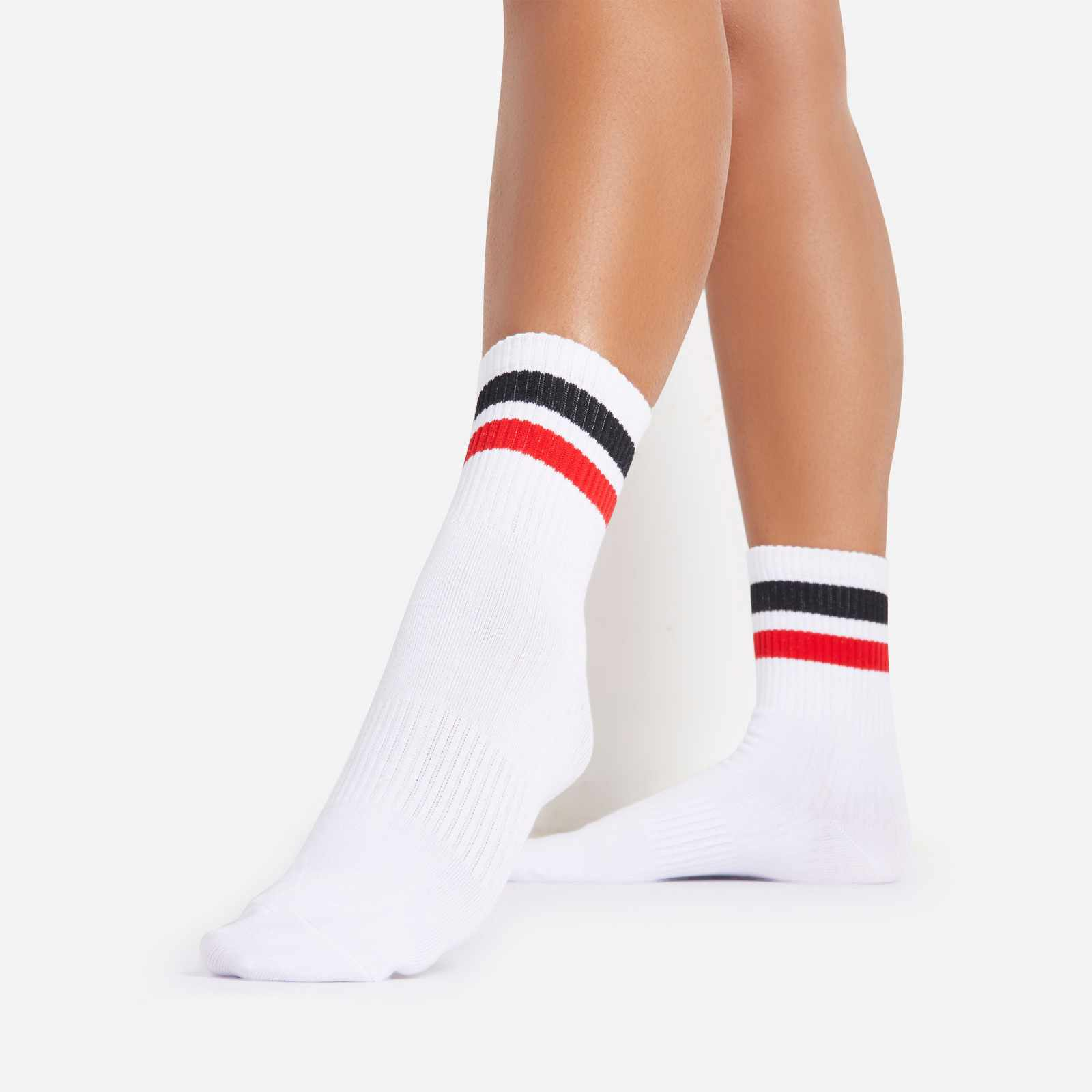 Black And Red Double Striped Sport Socks In White