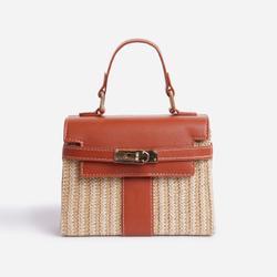 Una Lock Detail Woven Cross Body Bag In Tan Brown