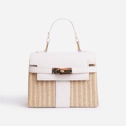Una Lock Detail Woven Cross Body Bag In White