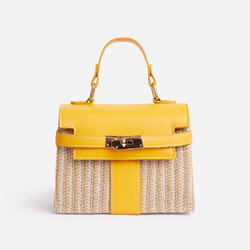 Una Lock Detail Woven Cross Body Bag In Yellow
