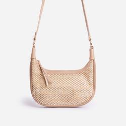 Sandy Woven Curved Baguette Shoulder Bag In Brown