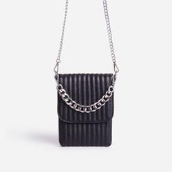 Jay Mini Chain Detail Quilted Pouch Bag In Black Faux Leather