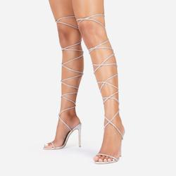 Venus Diamante Detail Thigh High Lace Up Heel In Silver Faux Leather