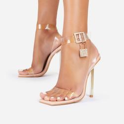 Jupiter Diamante Lock Detail Square Toe Clear Perspex Barely There Heel In Nude Patent