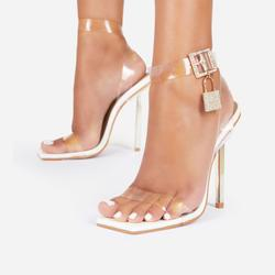 Jupiter Diamante Lock Detail Square Toe Clear Perspex Barely There Heel In White Patent