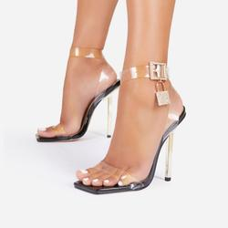 Jupiter Diamante Lock Detail Square Toe Clear Perspex Barely There Heel In Black Patent