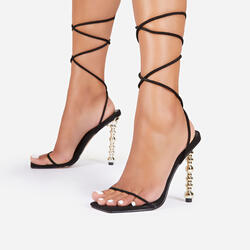 Malibu Lace Up Square Toe Sculptured Heel In Black Faux Suede