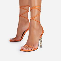 Malibu Lace Up Square Toe Sculptured Heel In Orange Faux Suede