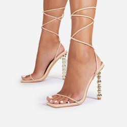 Malibu Lace Up Square Toe Sculptured Heel In White Faux Suede