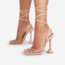 Midsummer Lace Up Square Toe Pyramid Heel In Nude Faux Leather