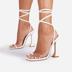 Midsummer Lace Up Square Toe Pyramid Heel In White Faux Leather