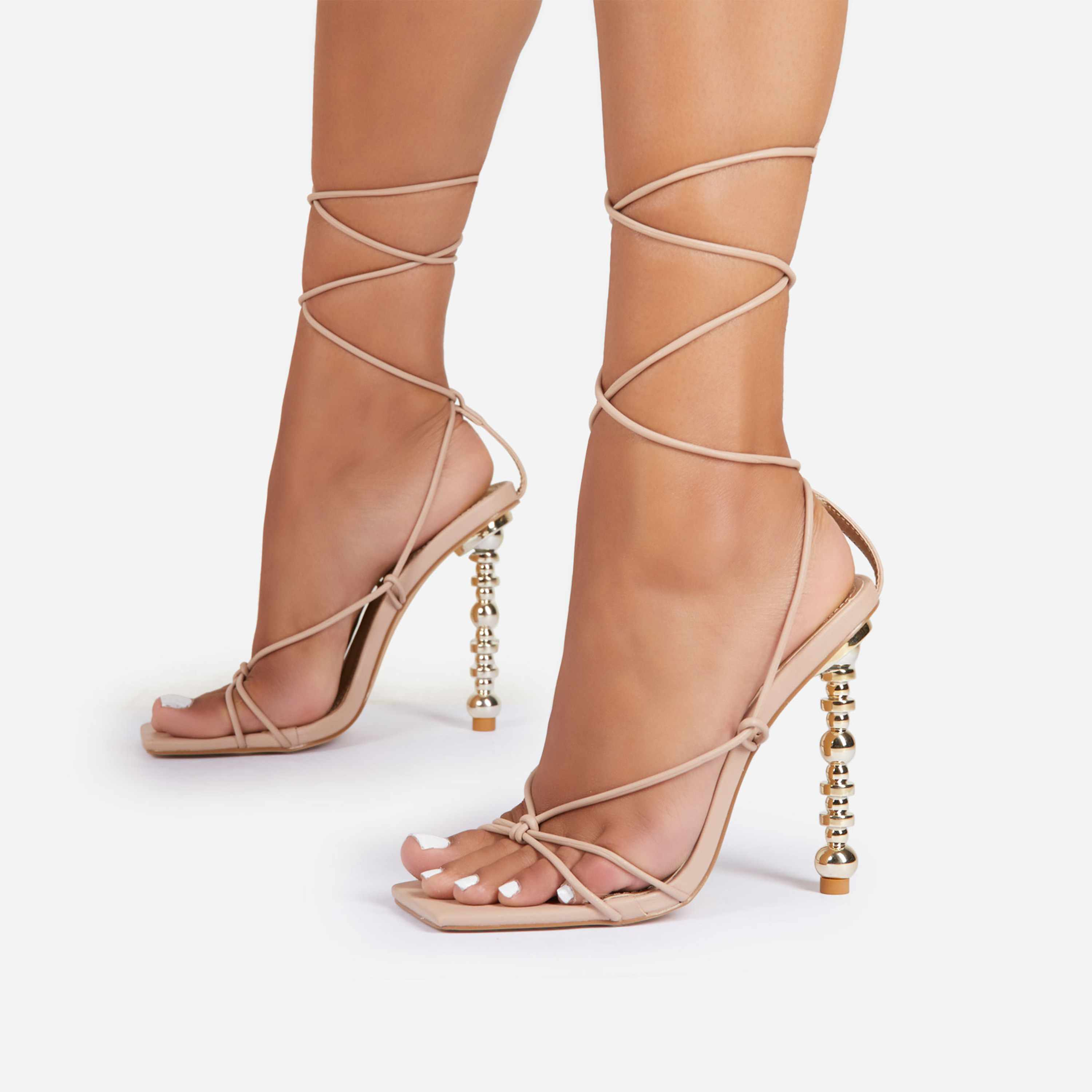 Trophy-Wife Lace Up Square Toe Sculptured Heel In Nude Faux Leather