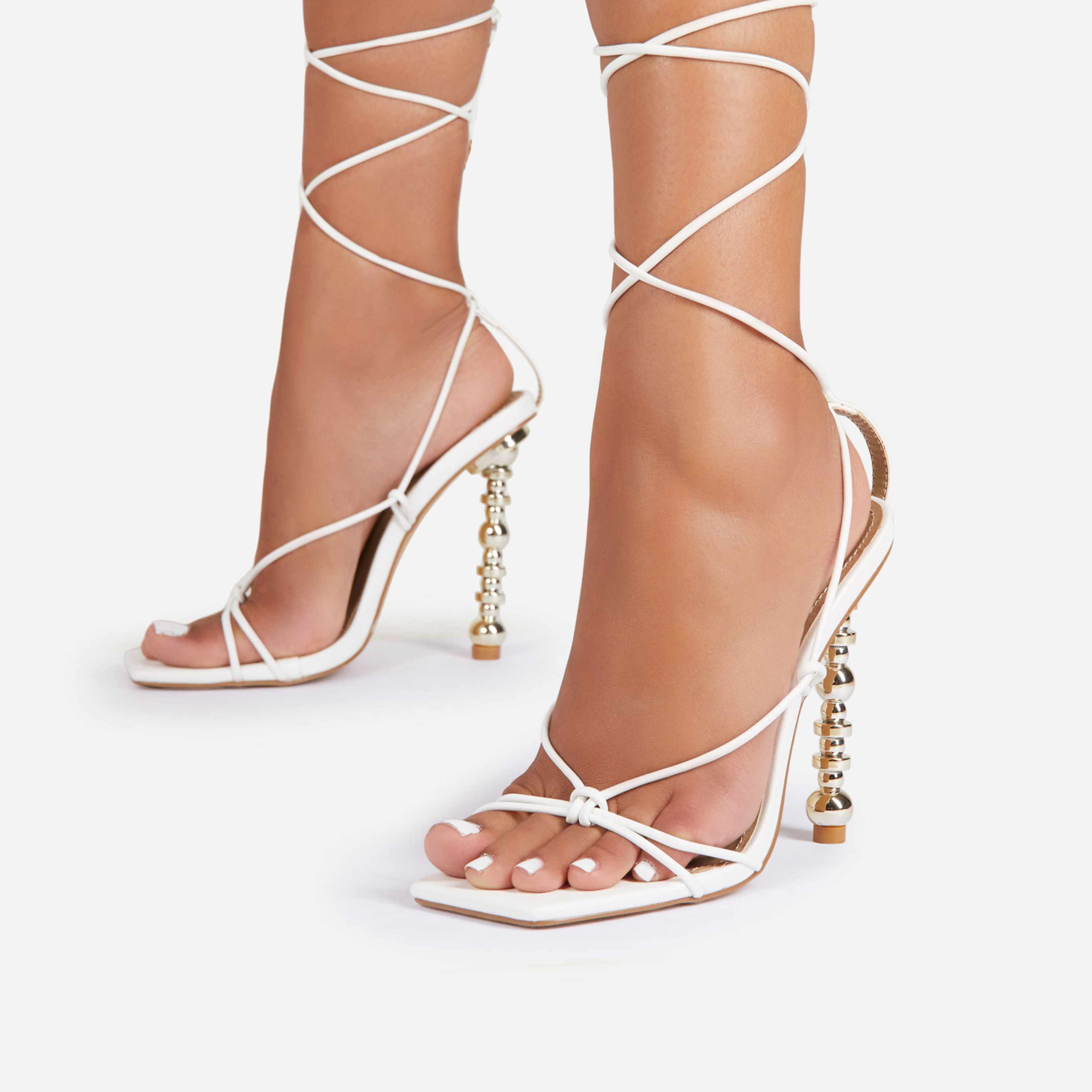 Trophy-Wife Lace Up Square Toe Sculptured Heel In White Faux Leather