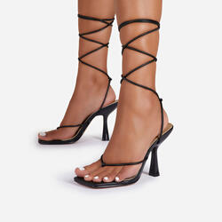 Beachwood Knot Detail Lace Up Square Toe Heel In Black Faux Leather