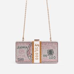 Boujee Premium Crystal Dollar Bill Cross Body Bag In Pink