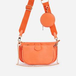 Mika Chain And Purse Detail Cross Body Bag In Orange Snake Print Faux Leather