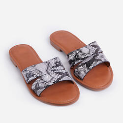 Liv Gregor Flat Slider Sandal In Grey Snake Print Faux Leather