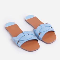 Gregor Flat Slider Sandal In Blue Snake Print Faux Leather