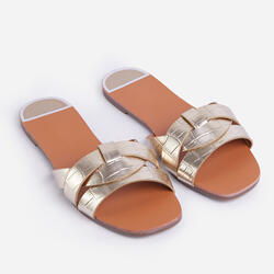 Gregor Flat Slider Sandal In Gold Croc Print Faux Leather