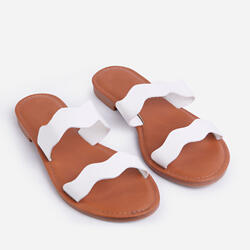 Dana Flat Slider Sandal In White Print Faux Leather