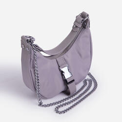 Buckle & Chain Detail Shoulder Bag in Grey Nylon