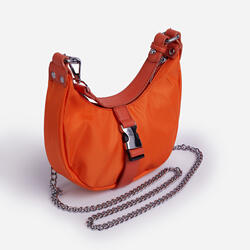 Buckle & Chain Detail Shoulder Bag in Orange Nylon