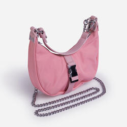 Cyrus Buckle & Chain Detail Shoulder Bag in Pink Nylon