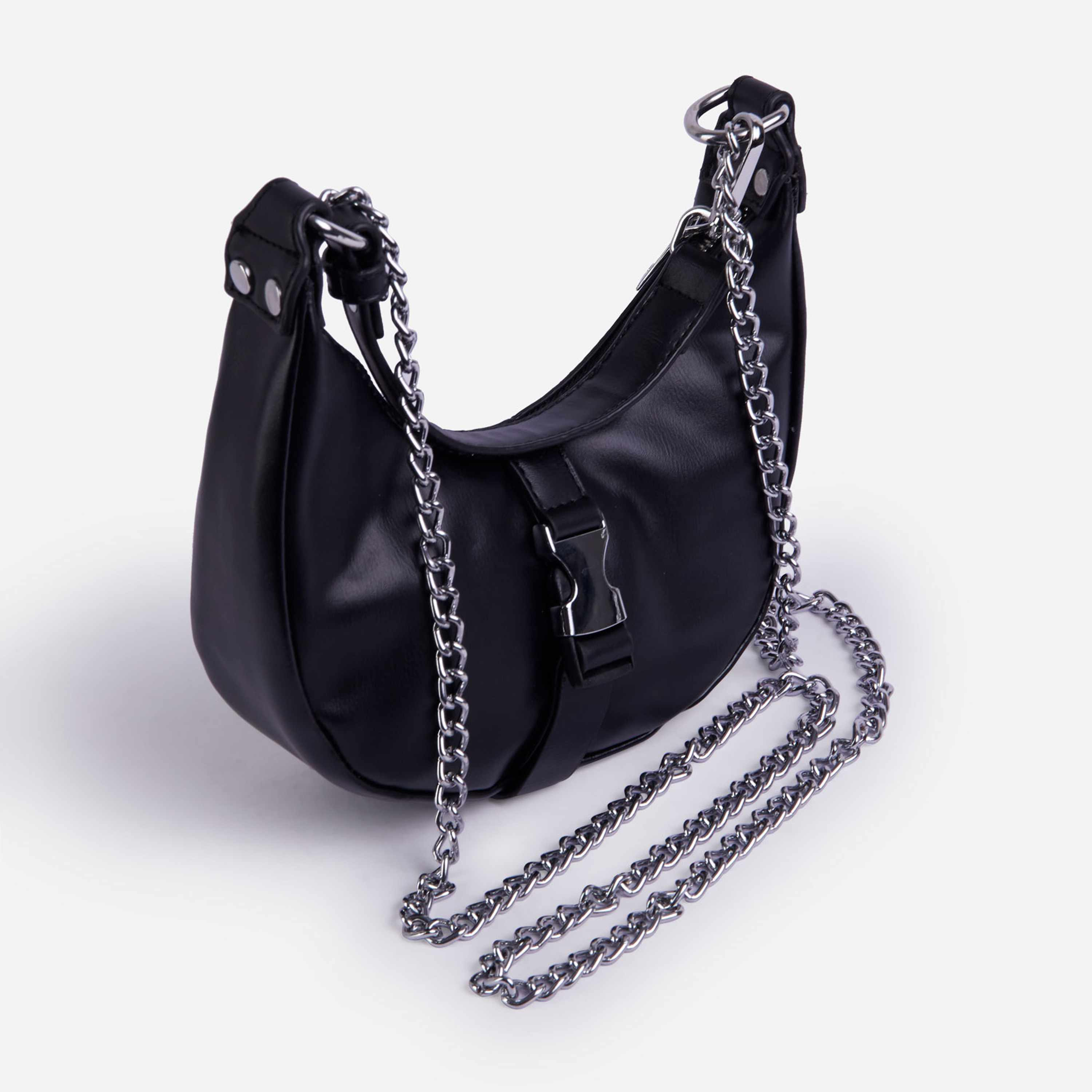 Buckle & Chain Detail Shoulder Bag in Black Nylon