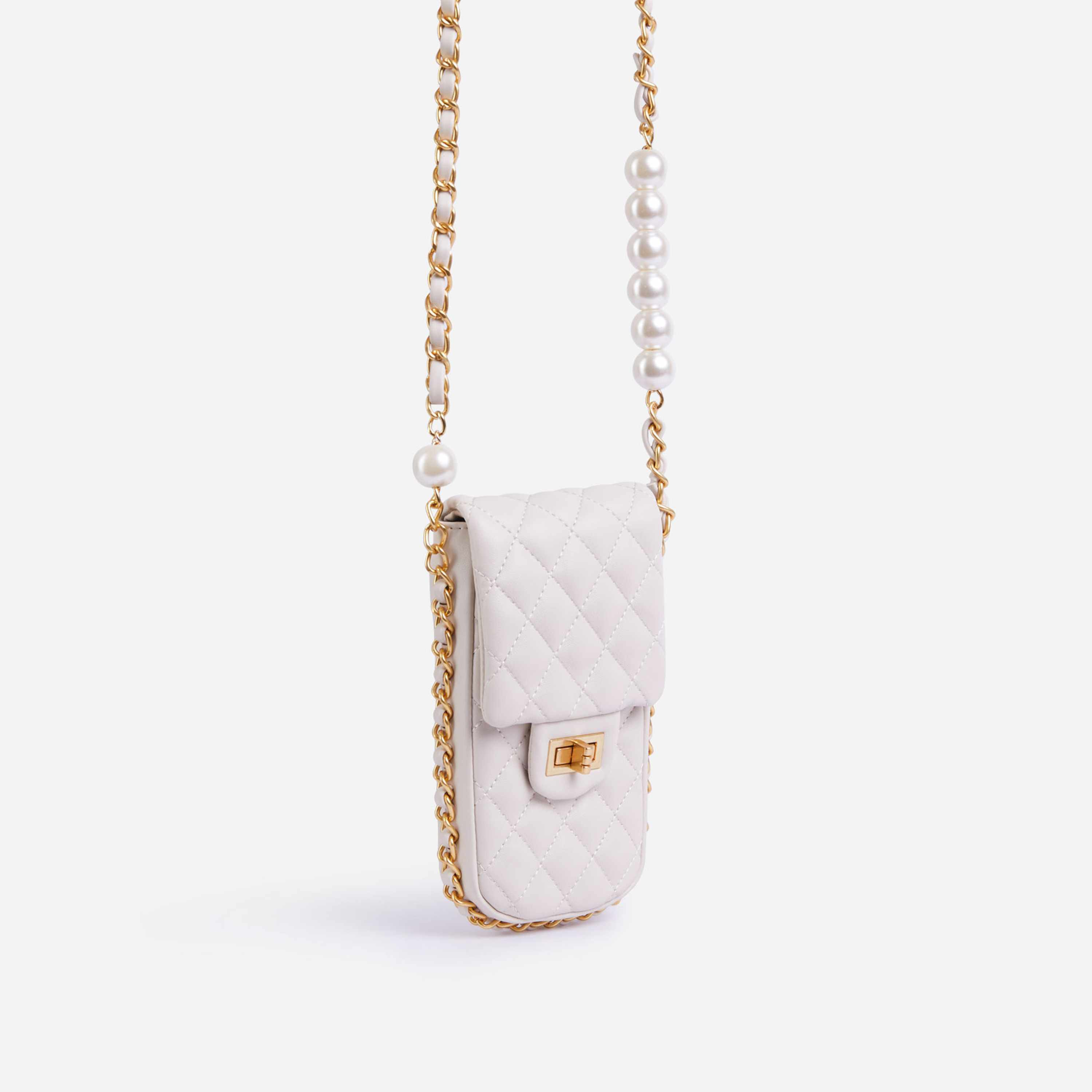 Peaches Quilted Pearl & Chain Detail Cross Body Mini Bag In White Faux Leather