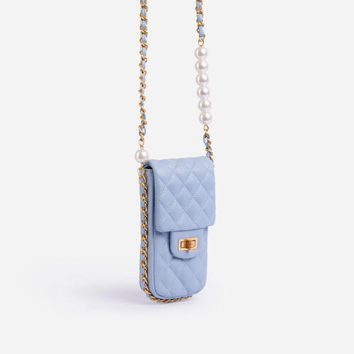 Peaches Quilted Pearl & Chain Detail Cross Body Mini Bag In Blue Faux Leather
