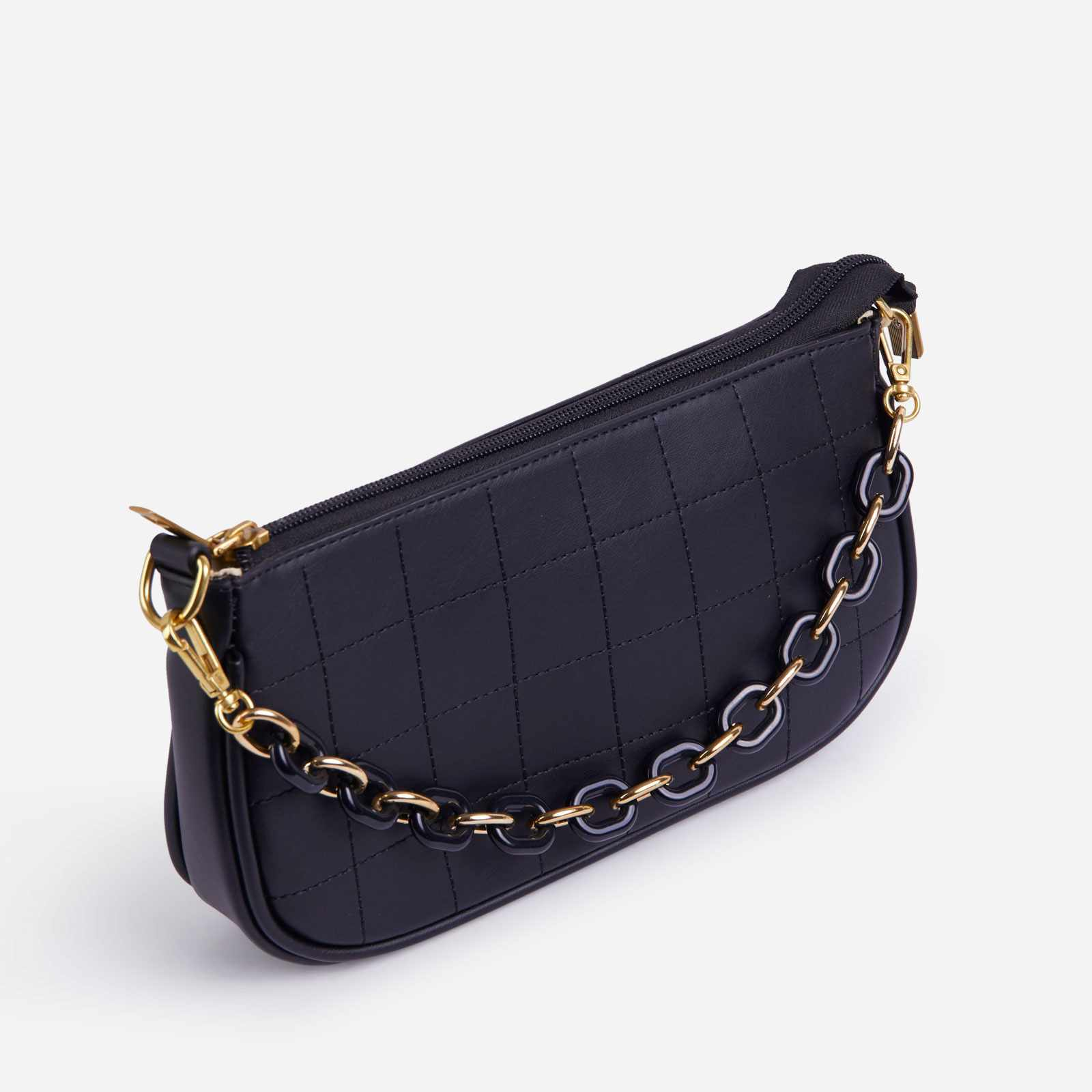 Chain Detail Baguette Bag In Black Faux Leather