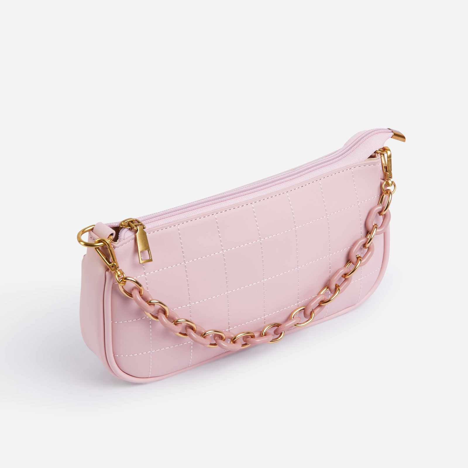 Chain Detail Baguette Bag In Pink Faux Leather