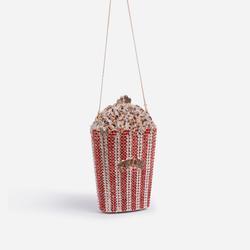 Posey Premium Crystal Popcorn Cross Body Bag in Red