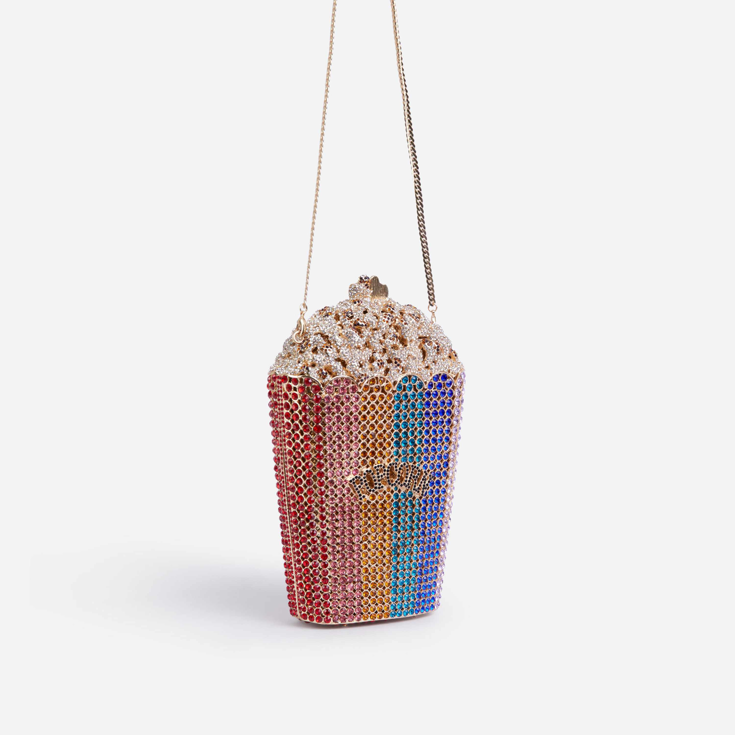 Premium Crystal Popcorn Cross Body Bag in Multi
