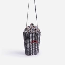 Premium Crystal Popcorn Cross Body Bag in Black