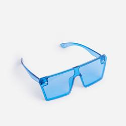Flat Brow Coloured Sunglasses In Blue